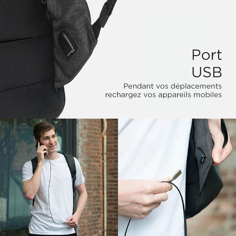 sac à dos sécurisé avec port USB
