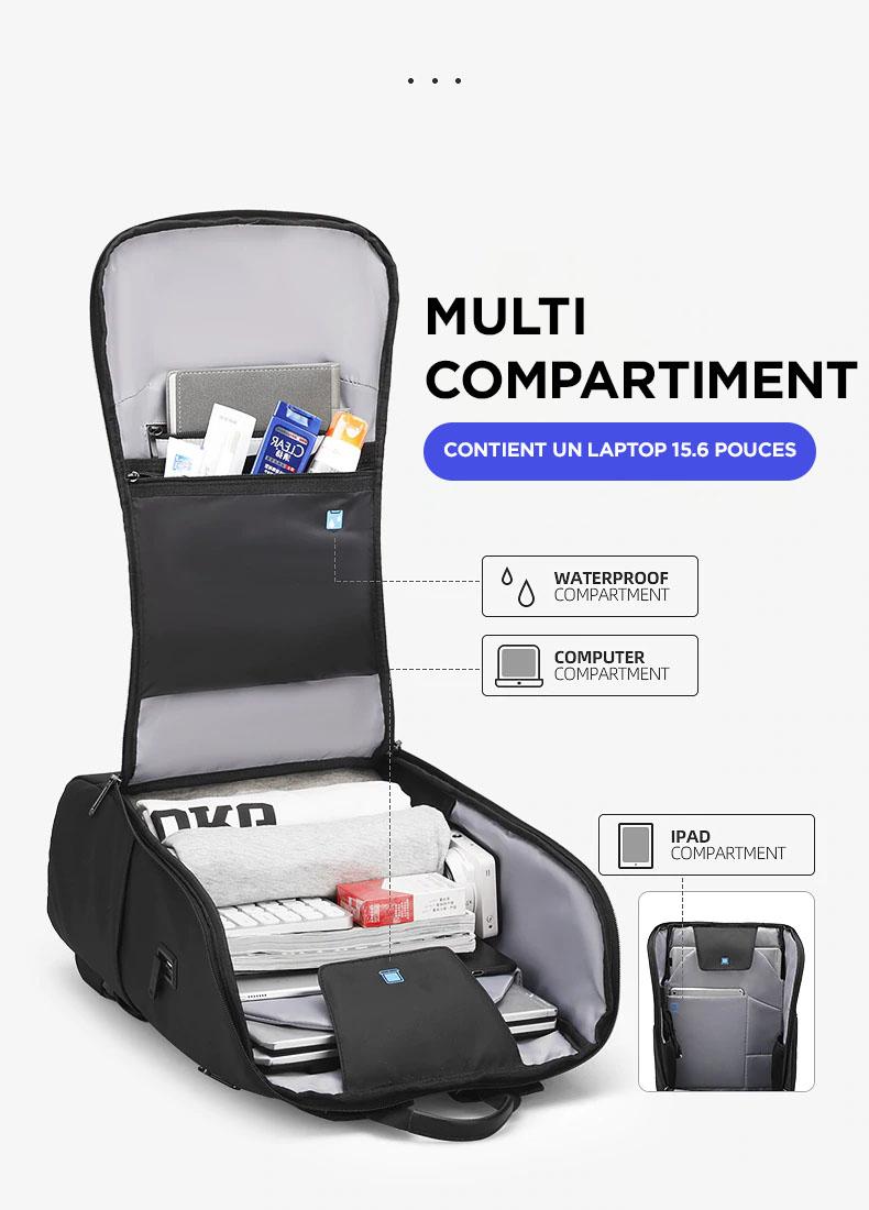 sac à dos connecté en USB et micro