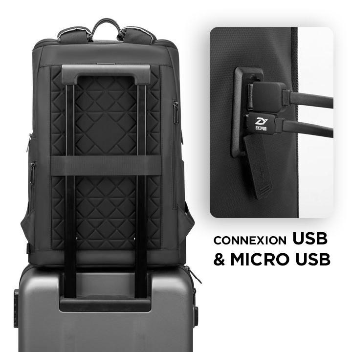 sac à dos connecté USB et micro Usb