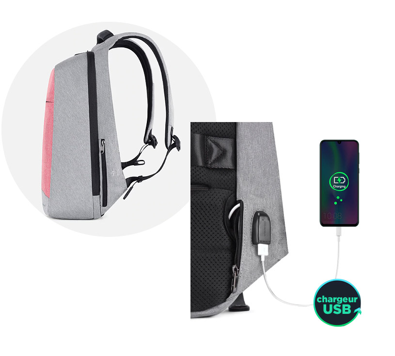 sac à dos inviolable USB rose