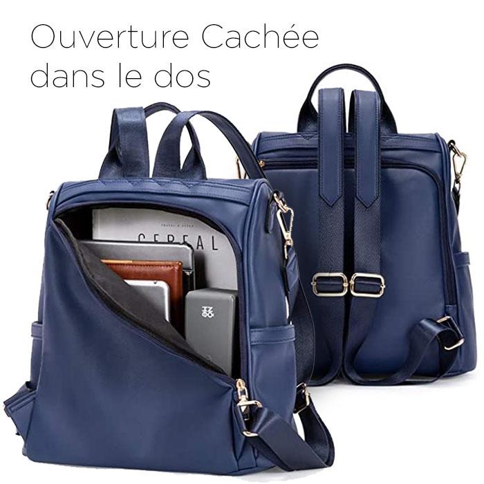 sac à dos antivol cuir Bleu