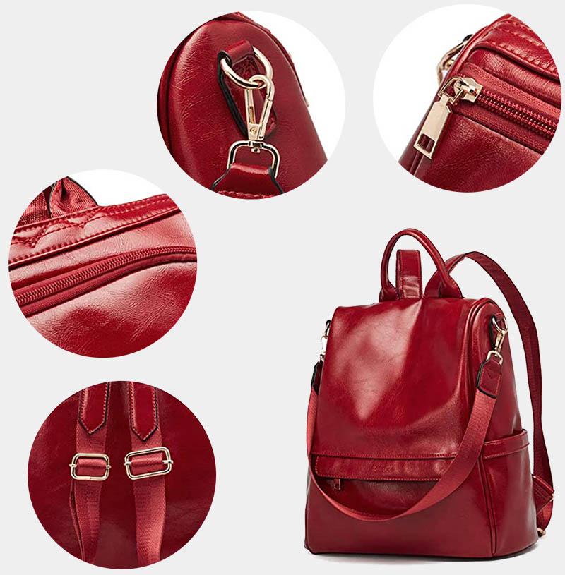 sac à dos antivol cuir rouge