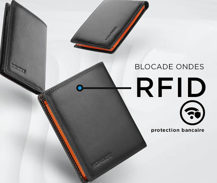 portefeuille cuir à blocage des ondes RFID