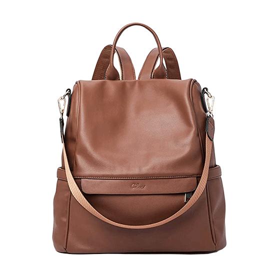 sac à dos antivol en cuir marron pour femme