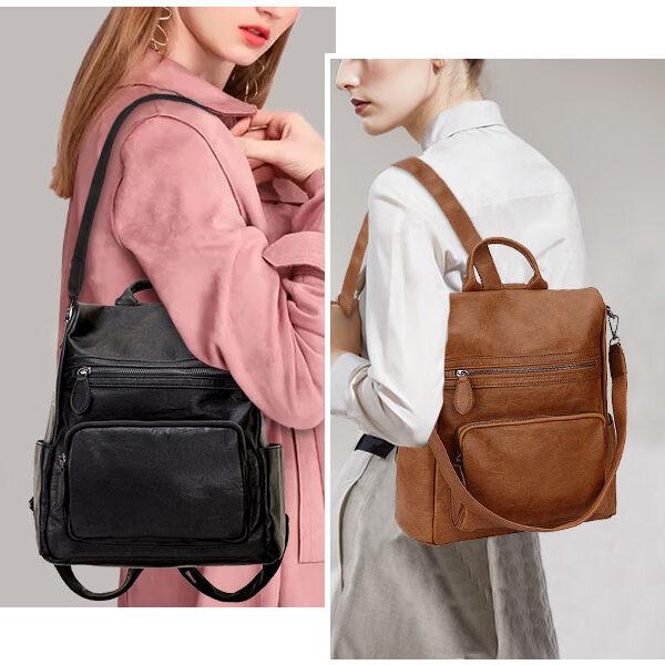 sac à dos antivol en cuir marron