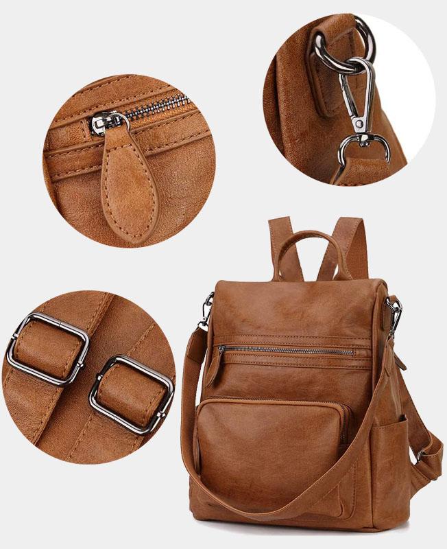 sac à dos antivol en cuir pour femme