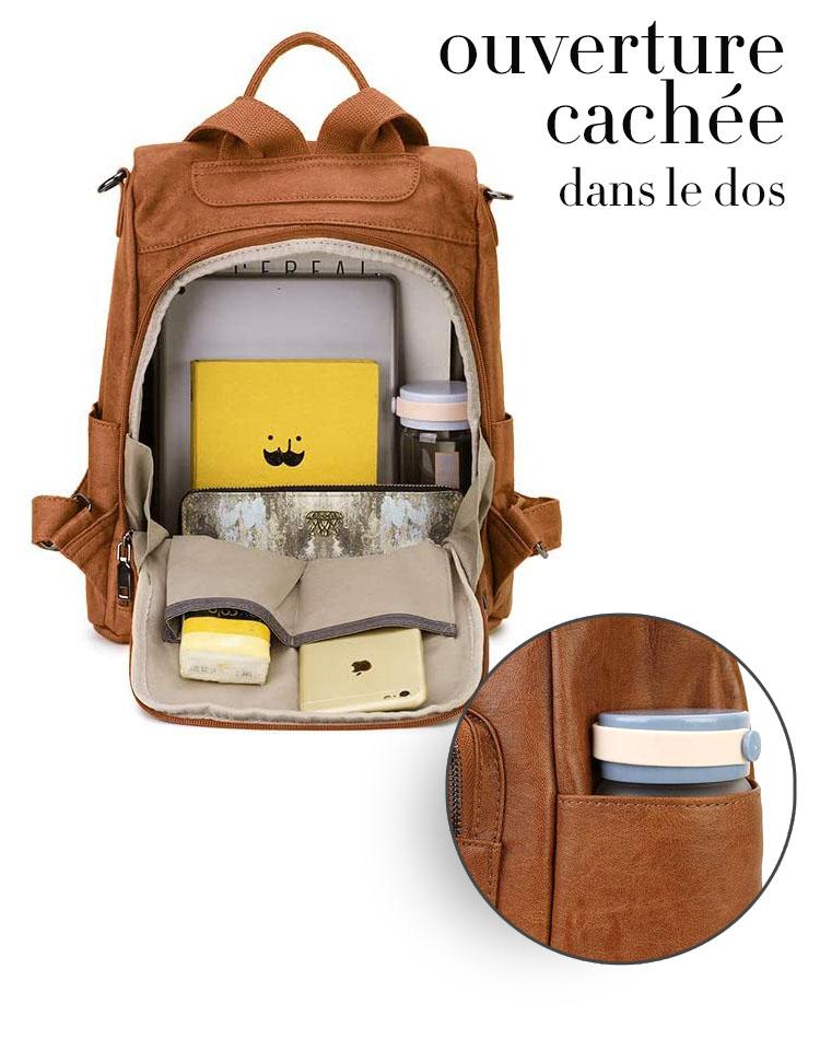 sac à dos avec ouverture cachée